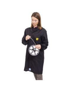 Black ESD Lab Coat with elastic cuffs