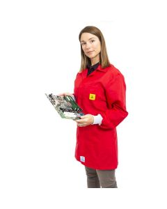 Red ESD Lab Jacket with elastic cuffs