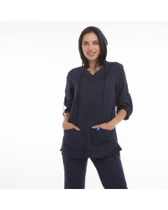 Women's Scrubs Navy Blue Hooded Top