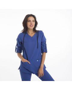 Women's Scrubs Royal Blue Hooded Top