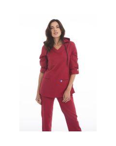 Women's Scrubs Red Hooded Top
