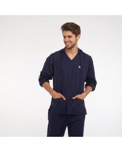 Men's Scrubs Navy Blue Hooded Top