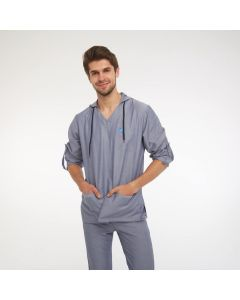 Men's Scrubs Light Grey Hooded Top