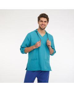 Men's Scrubs Light Blue Hooded Top