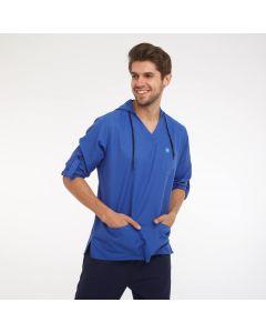 Men's Scrubs Royal Blue Hooded Top