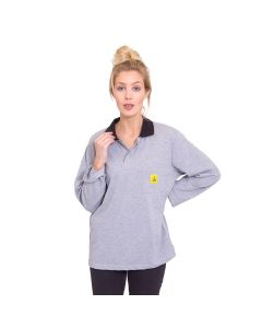 Long sleeved ESD Polo Shirts in Grey
