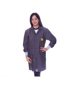Grey ESD Lab Coat with elastic cuffs
