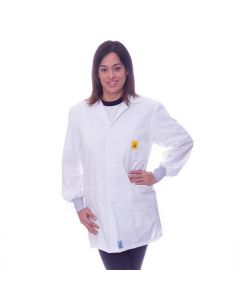 White ESD Lab jacket with elastic cuffs