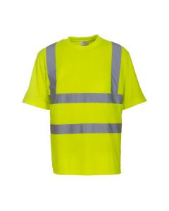 Hi Vis short sleeve t-shirt which conforms to EN ISO 20471:2019 + A1:2016 Class 2