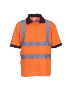 Orange hi vis polo shirt which conforms to EN ISO 20471:2013 Class 2 and RIS-3279-TOM