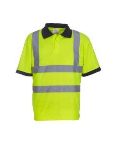 Yoko yellow hi-vis polo shirt with navy blue collar and cuffs